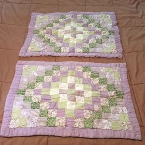 Other - 2 Lavender green quilted retro pillow shams 20x26